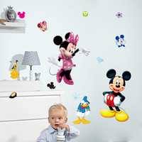 Wholesale Minnie Wallpaper - Cartoon Mickey Minnie Mouse Art Mural Poster Sticker Kids Room Nursery Wall Decoration Sticker Decor Classic Mouse Wallpaper Home Decal