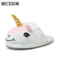 Wholesale Despicable Plush Slippers - Plush Unicorn Cotton Home Slippers for White Despicable Winter Warm Chausson Licorne Indoor Christmas Slippers Fit Size35-43 68W