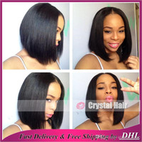 Wholesale Human Mix Lace Front Wigs - New fashion bob full lace wigs lace front wig glueless virgin Human Hair Wigs for black women african american with baby hair
