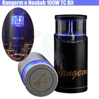 Wholesale Huge Silicon - Kangerm ehookah 100W TC Kit charcoal e hookah 50ml 0.2ohm Tank 18650 battery portable Huge vapor bongs atomizer bong dab e cigs New version