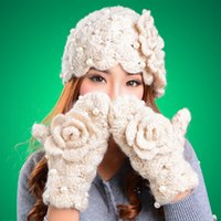 Wholesale Girl Scarf Hat Flower - Retail Warm Winter Handwork Acrylic Knitted Hat and Gloves set Flower Ski Free Shipping