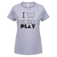 Compra Magliette Coldplay-Moda Coldplay woMen T Shirt manica corta in cotone Rock Band Cold Play T-shirt Tees Estate Nuovo woMen Top Tee Spedizione gratuita OT-151