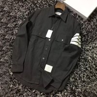 Wholesale Grey Collared Shirt Woman - Wholesale-HONO Li TB Turn-down Collar Single Breasted BROWNE Poplin Dark Grey and black Men and women Lovers Casual Shirts
