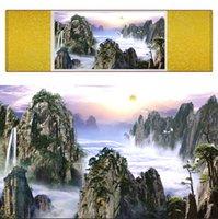 ingrosso muro arte cinese appeso scorrimento-1 Pezzo HD Stampato Montagna E Fiume Immagini Muro Cinese Scroll Silk Wall Art Poster Immagine Pittura Decorazione Della Casa Appeso A Parete