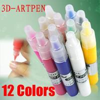 Wholesale Nail Decoration Dangles - Freeshipping-12 Colors Nail Art Pen for 3D Nail Art DIY Decoration Retail SKU:C0028