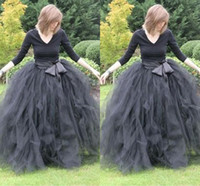 Wholesale Black Tutu Skirts For Women - Floor Length Ball Gown Skirts For Women Ruffled Tulle Long Skirt Adult Women Tutu Skirts Lady Formal Skirts With Sashes