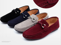 Wholesale Grey Men Boat Shoes - DORP SHIPPING New 2015 driving shoes men loafers genuine leather mens boat shoe male casual mocassim masculino Shoes
