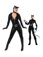 ingrosso zentai costumi supereroi lucido-Nero lucido metallizzato Catwoman Superhero Costume Carnevale Party Halloween Costume Halloween Party Cosplay Zentai Suit