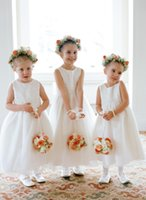 Wholesale first comunion dresses for sale - Cute O Neck Flower Girls Dresses With Bow Ankle length Zipper Back First Communion Dresses Vestidos Comunion Girls Pageant Dresses
