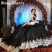 Wholesale black lace gothic prom dress - Gothic Black Sweet 16 Masquerade Quinceanera Dresses 2018 Ball Gown Off Shoulder Gold Lace Arabic Vestidos 15 Anos Girl Birthday Prom Gowns