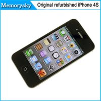 Wholesale Apple Iphone 4s Mobile - iPhone4s Unlocked Original Apple iPhone 4S mobile phone 3G GPS 16GB 32GB 64GB ROM iOS 8 Dual Core Refurbished cell phones 002834