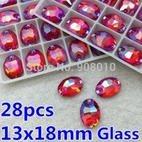 28pcs 13x18mm Oval Coudre strass Lt Siam Red AB couleur 18x13 coudre verre cristal Pierres 2Holes