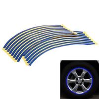 Wholesale Hot Wheels Stickers Bikes - Hot Sale 18x 10mm Blue Car Motorcycle Bike Wheel Hub Rim Reflective Tape Stripe Decal Sticker