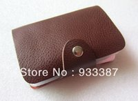 Wholesale Coffe Holder - Wholesale-Free shipping! Hot 100% genuine leather solid coffe leather men's business credit ID Cards holder case wallets WH31