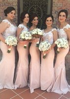 Wholesale Lace Bride Bridesmaids - Romantic Mermaid Bridesmaids Dresses 2016 New Arrival Lace Sheer Cap Sleeve Sweetheart Sexy Open Back Brides Maids Dress Bridal Gowns
