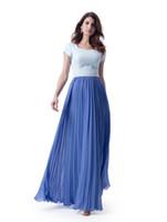 ingrosso le damigelle d'onore veste due toni blu-Due abiti da damigella d'onore modesti vestiti da damigella d'onore in piega blu