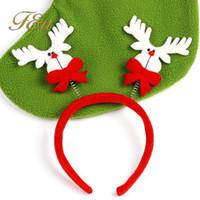 cuerno de reno de navidad al por mayor-Navidad 10 unids / lote Santa Reindeer Antler Hat Deer Horn Navidad cap Envío gratis nuevo regalo Xmas14