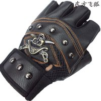 Wholesale King Gloves - Wholesale-Gloves Half FingerSupply Sea King Knight PU leather sports protective gloves wholesale tricolor large favorably for the election