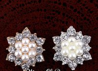 botones de perlas de cristal de moda al por mayor-5% de descuento (60pcs / lot) 17MM EXCELENTE CALIDAD Botón Rhinestone de la aleación de moda con perlas para accesorios de flores de cabello Chidlren