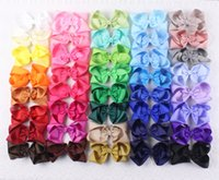 Wholesale Dress Instock - New Instock 40pc 5INCH flower girl dress of wedding accessories baby hair bows clip 401C-Y Free shipping