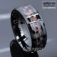 Wholesale Fiber Rings - Wholesale-Men's Tungsten Ring with Carbon Fiber 8mm Black and red Wedding Band men Free Shipping