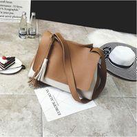 Wholesale Mini Sling Bags - women PU leather messenger bags sling satchel crossbody shoulder bag tassel zipper vintage female mini small purse 2018 deisnger