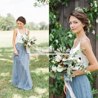 Wholesale grey pink tutu resale online - Cheap Grey A line Bridesmaid Dresses With Tutu Skirt Spaghetti Tulle Bohemian Maid Of Honor Party Dress Summer Beach Maxi Dresses