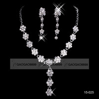 Wholesale Cheap White Gold Engagement - 18K White gold plated metal necklace set in stock 2016 cheap wedding bridal jewelry set earring necklace
