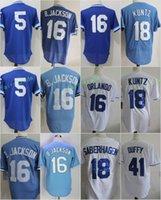 Wholesale Cool Cities - Kansas City #5 George Brett 16 Bo Jackson 18 Rusty Kuntz 41 Danny Duffy Flexbase Jerseys Cool Base Throwback Stitched Blue White