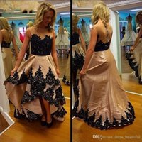Wholesale Cheap Fancy Party Dresses - 2017 Fancy High Low See Through Back Prom Dresses Black Lace Tiers Skirt Button Back Cheap A-line Aso Ebi Evening Party Dresses