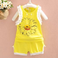Wholesale Wholesale Factory Direct Clothing Korean - Korean style children's clothing wholesale factory direct summer clothing set new suit ironed ablazely sunflower beaded girls suit A042650