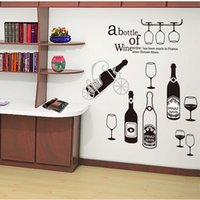Hot Red Wine Bottle e Cup Wall Stickers Decalque Decalques de parede para Bar Restaurante e Café Tea Shop PVC Vidro Adesivos