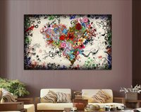 Wholesale Oil Canvas Flower - New arrived Modern wall art heart flowers Painting On Canvas Canvas Prints Painting Pictures Decor For Living Room T 771