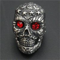 Wholesale Ruby Star Rings - 1pc New Design Heavy Stars Skull Ruby Eyes Ring 316L Stainless Steel Biker Style Lastest Band Party Cool Skull Ring