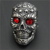 Wholesale Ruby Skull Ring - 1pc New Design Heavy Stars Skull Ruby Eyes Ring 316L Stainless Steel Biker Style Lastest Band Party Cool Skull Ring