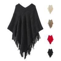 Wholesale Knit Fringed - S5Q Women's Winter V Neck Poncho Shawl Fringed Batwing Stripes Irregular Sweater AAAFLV