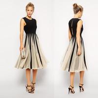 boho çay elbisesi toptan satış-Bohemian Plaj Boho Ucuz Kadınlar Yaz Casual Elbise Vestidos Kolsuz Çay Boyu Bir Çizgi Siyah Şifon Parti splice Elbiseler Kadın Elbise