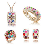 Wholesale Luxurious Wedding Earrings - Luxurious Queen Necklace Earrings Bracelet Rings Sets Newest Fashion Crystal Jewelry Sets 18KGP Wedding Jewelry Set For Women SET-00030