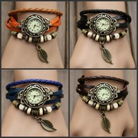 2015 chaude Retro Quartz Watch Fashion Weave Wrap Around Bracelet Bracelet en cuir Womens Tree Leaf Green Girl Watch en stock 2015 hot E65J