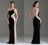 Wholesale Single Sleeve Illusion Prom - New Arrival Red Carpet Single Long Sleeve Beaded Evening Dresses Prom 2015 Sexy Saudi Arabia Dress