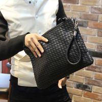 Wholesale Soft Leather Wallets Mens - Wholesale-Hot New Fashion Men Wallets Leather Bags Male's Wallet Storage Handbag Weave Clutch Bag mens clutch bags leather