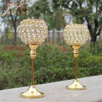 ingrosso decorazioni candelabri-Nuovo 2 pezzi portacandele in metallo placcato oro con cristalli candelabri / centrotavola candeliere