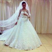 Wholesale Dress Wedding Suzhou - See Through Long Sleeve Lace Wedding Dress Vestido De Noiva Vintage Muslim Wedding Dress 2015 Hot Sale Sweetangel Beading Sash Suzhou China
