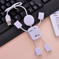Wholesale Lovely Usb Hub - Wholesale-Wholesale 1PCS Lovely White Human Shape High Speed USB 2.0 4 port USB HUB Doll Shape Usb Hub