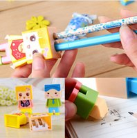 Wholesale Manual Toys - Kawaii Cartoon Rubber Pencil Eraser DIY Double Holes Manual Pencil Sharpener Office School Stationery Students Kids Prizes Toy Gift