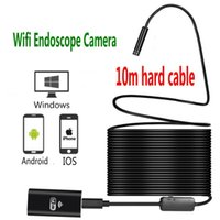 Wholesale Led 8mm - 10m hard cable Wifi Endoscope camera 8mm Lens 8 LED Android IOS Boroscope Camera Wireless Waterproof Iphone Endoscope Camera ann