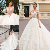 Wholesale modern wedding dress red bow online - Lace Applique Wedding Gowns Open Back Long Sleeve Bridal Dress A Line Court Train Plus Size Wedding Dresses