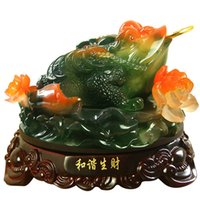 Wholesale Imitation jade resin crafts Lucky toad harmonious way of making money toad opening gifts business office