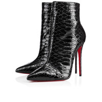 Wholesale Sexy Over Knee Flat - 2017 Paris Winter Red Bottom Ankle Boots Women Sexy Women Pointed Toe So Kate Booty Genuine Leather Ladies Stiletto Boot High Heels Eu35-36