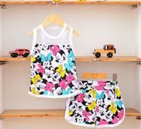 Wholesale Top Less - Wholesale-Summer children clothing Kids lace top+short set 2 pieces children sleeve less clothes suit 5s l